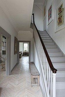 entryway staircase railings banister herringbone floor stair tread paint color