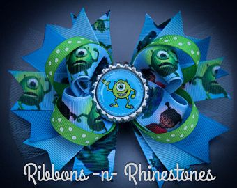 Monsters Inc Bow, Monsters Inc Hair Bow, Monsters Inc Party Bow, Monsters Inc Birthday Bow, Monsters Bow, Monsters Inc Mike Bow,