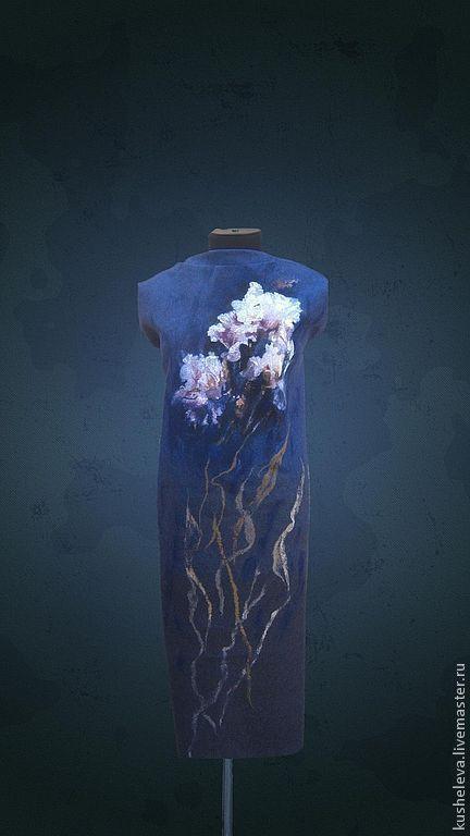 """""""Purple Iris """".Сollin Вogle. Нуновойлочные купоны.Шерстяная живопись -"""