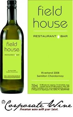 Restaurants enjoy the services of Corporate Wine Custom Labelled Wine, as seen here  on   Riverland NV Semillon Chardonnay