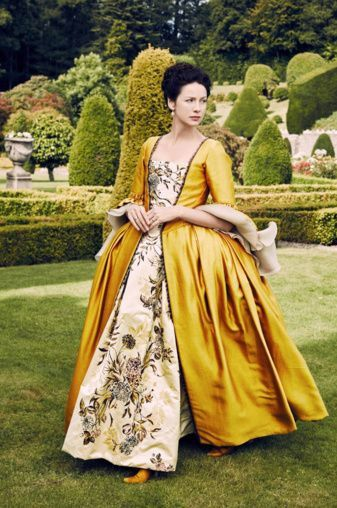"""Claire Fraser yellow dress""""Outlander"""", multiple choice of sizes -made to order cosplay Marie Antoinette Rococo 18th century"""