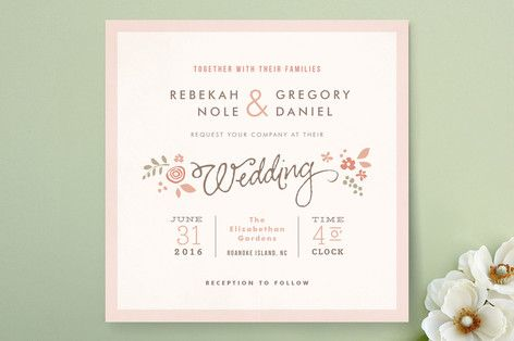 Pink Blossoms Wedding Invitations by Jennifer Wick at minted.com