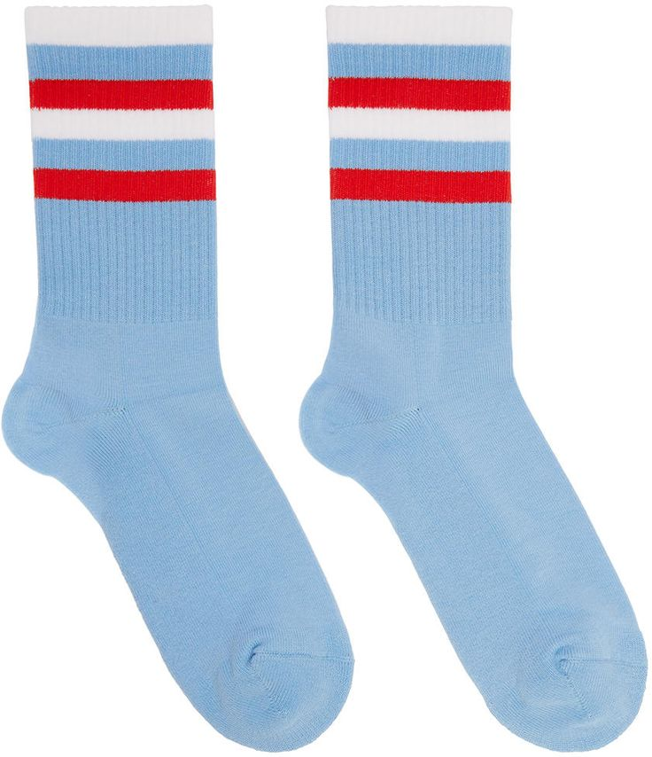 Image of Gosha Rubchinskiy Blue Striped Flag Socks