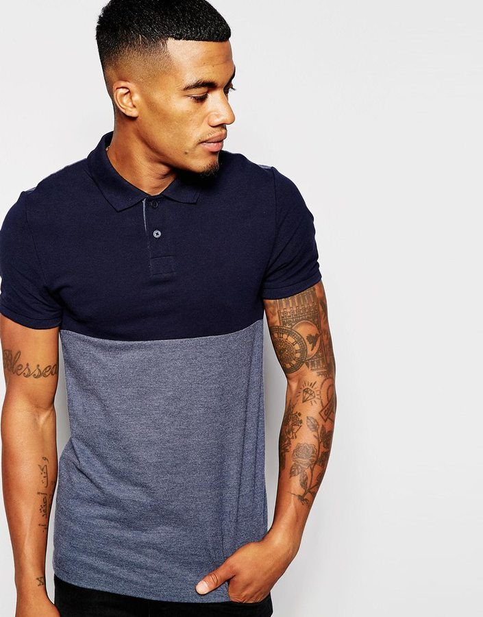 ASOS BRAND ASOS Muscle Pique Polo With Cut & Sew Panel
