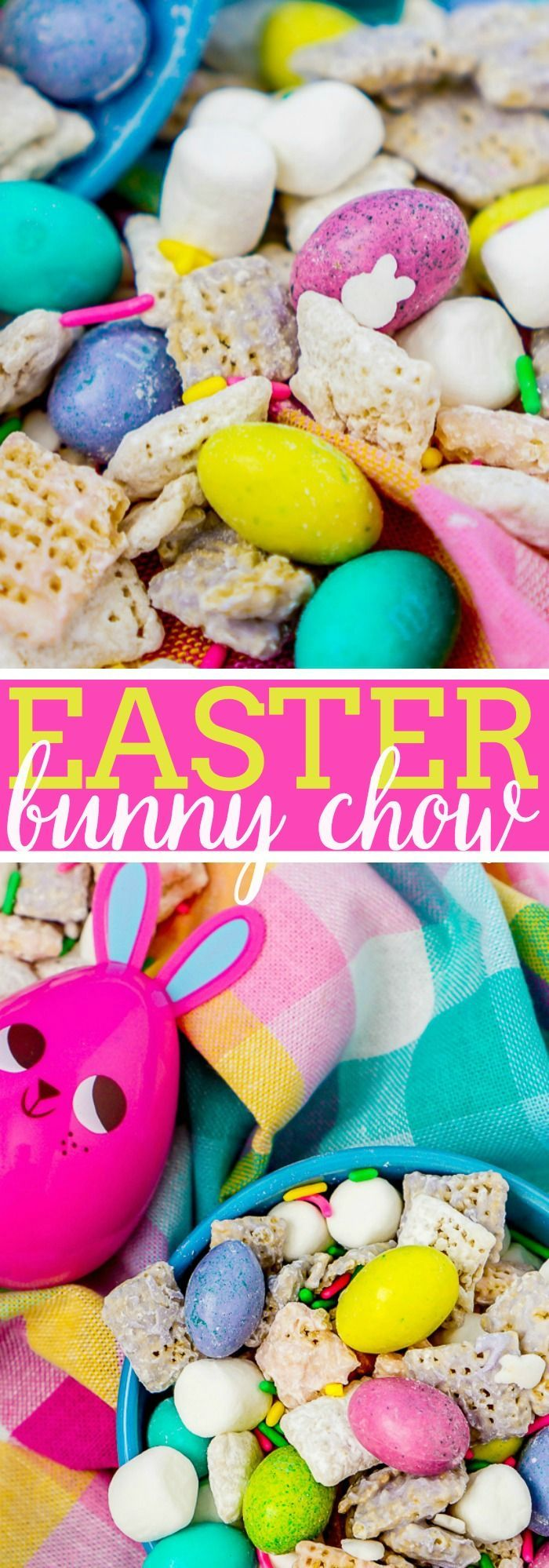 Easter Bunny Chow Recipe - An easy and tasty spring puppy chow recipe the whole family will love! These muddy buddies are just too cute to pass up for the Easter holiday and it's nut free! | The Love Nerds via @lovenerdmaggie