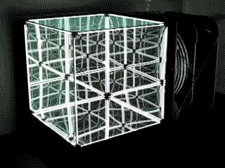 N-Light Membrane is a giant cube with three out of the six surfaces made of flexible membrane (foil mirror) with an air tank and a compressor connected to it. The other three mirrors are semi transparent spy-glass. By inflating or deflating the air tank, the membrane turns convex or concave, deforming the reflections within.