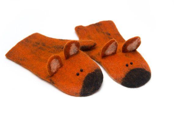 Felt fox mittens - fox mittens - felt gloves - felt arm warmers - felt animal mittens - felted gloves - wool mittens - christmas gift