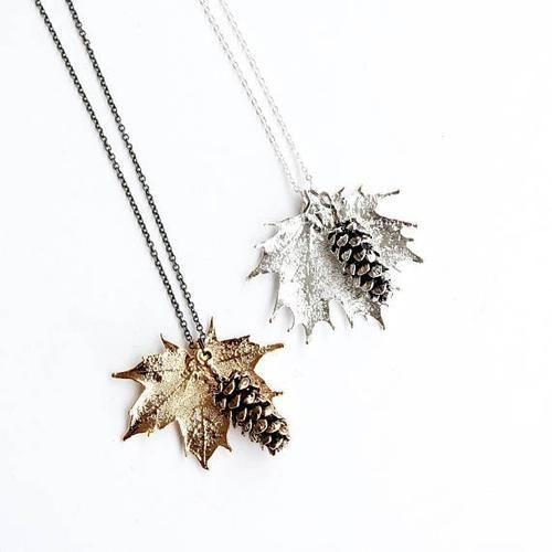 Birch Jewellery - Maple Leaf & Pine Cone Necklace
