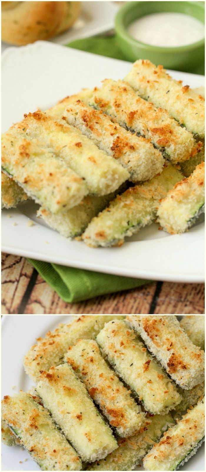 Healthy and delicious Baked Crusted Zucchini Sticks recipe - one of our favorite side dishes. { lilluna.com } Packed with flavor - panko, parmesan cheese, oregano, and basil.