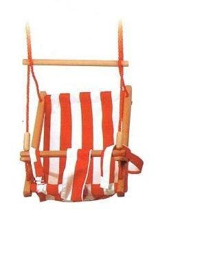 Mooie babyschommel met rood - wit gestreepte stoffen bekleding, de schommel heeft stevige touwen met ophangogen.     Afmeting: H 57 B 35 cm