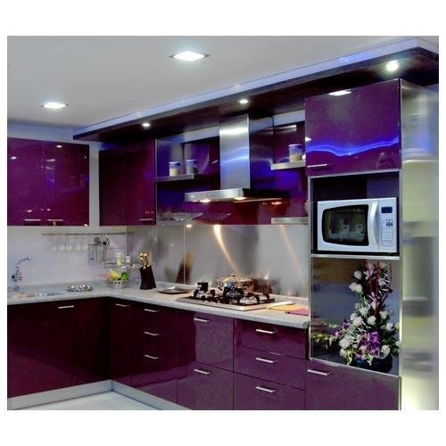 Purple High Gloss Lacquered Kitchen Cabinets With Granite Countertop