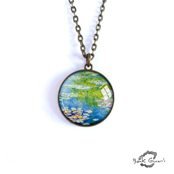 Art necklace, Claude Monet Water Lilies pendant, artwork jewelry, charm art picture necklace, simple necklace, oil painting reproduction