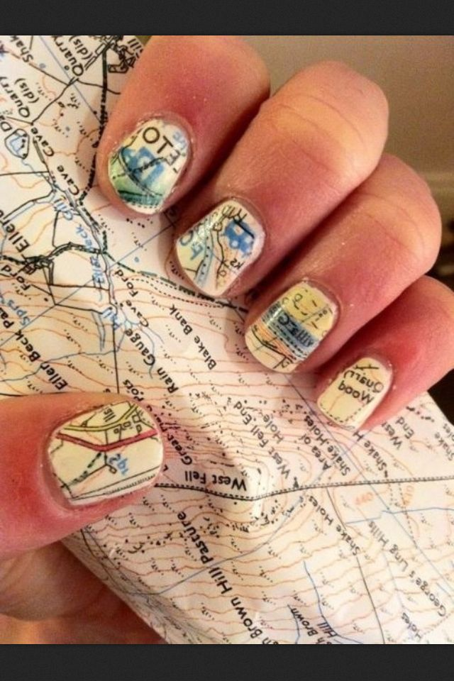 Newspaper nails...same concept done with a map!