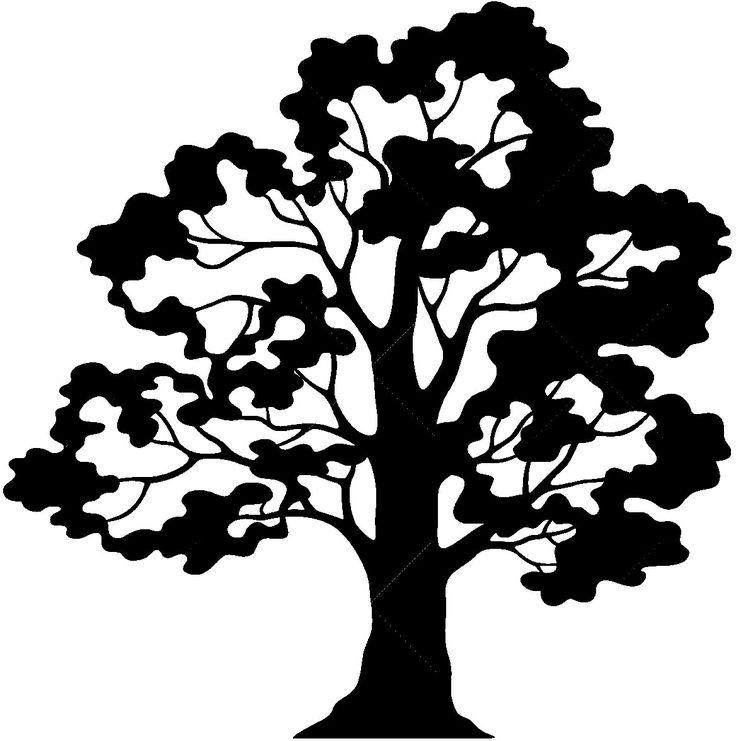 Oak Tree Silhouette Ornament 12 Black And White