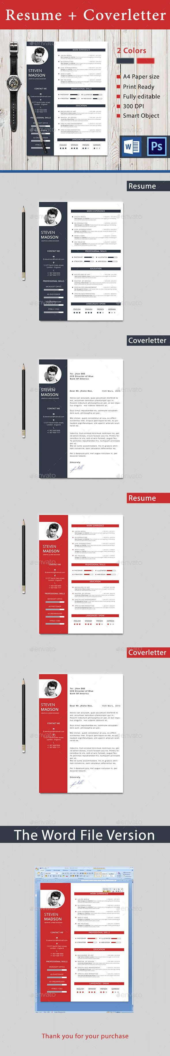 Resume — Photoshop PSD #simple #red resume • Available here → https://graphicriver.net/item/resume/14326598?ref=pxcr
