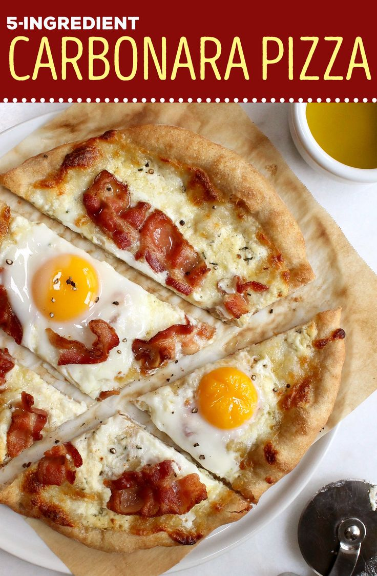 Make breakfast pizza using eggs, bacon and cheese. This easy 5-ingredient recipe is perfect for brunch.