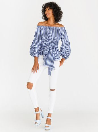 STYLE REPUBLIC Ruched Sleeve Checked Bardot Blouse Blue and White