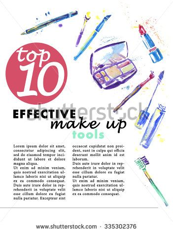 Watercolor make up tools isolated on white backdrop. Hand drawn cosmetic tools good for print design, magazine illustration or any graphic design and advertisement. - stock photo
