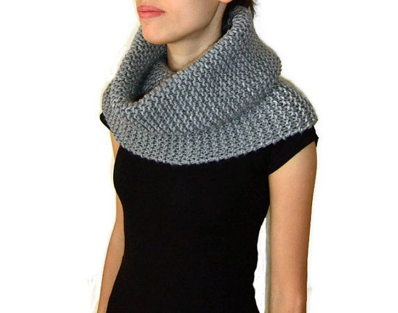 Hand Knitted Cowl in Grey  Chunky Knit Cowl  by naryaboutique, $48.00