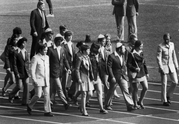 A picture taken on September 6, 1972, shows members of the Israeli team of the Olympic Games marching on the field of the Munich Olympic stadium to attend the memorial ceremony paying tribute to their countrymen killed by a commando of Palestinian terrorists. (Getty Images)