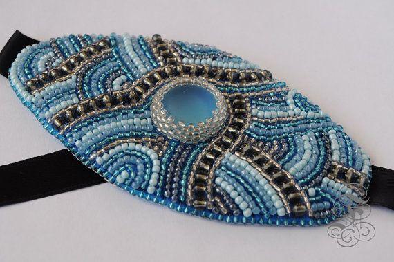 Bead Embroidery Bracelet Blue Lagoon by Fantasmat