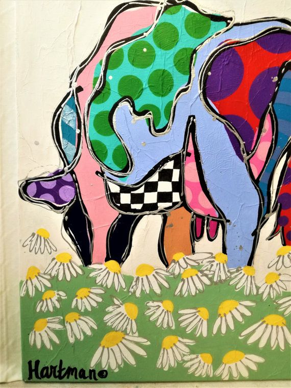 Colorful painting  Pop Art Pop Art Painting Cows by MevrouwHartman