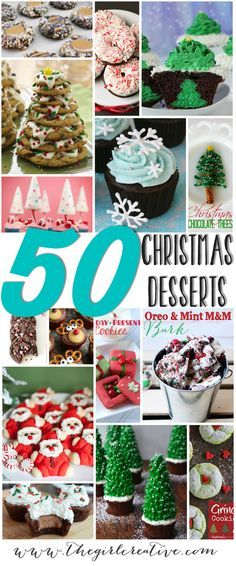 Over 50 delicious Christmas desserts. Something for everyone - cakes, cupcakes, cookies, chocolate covered pretzels and more!