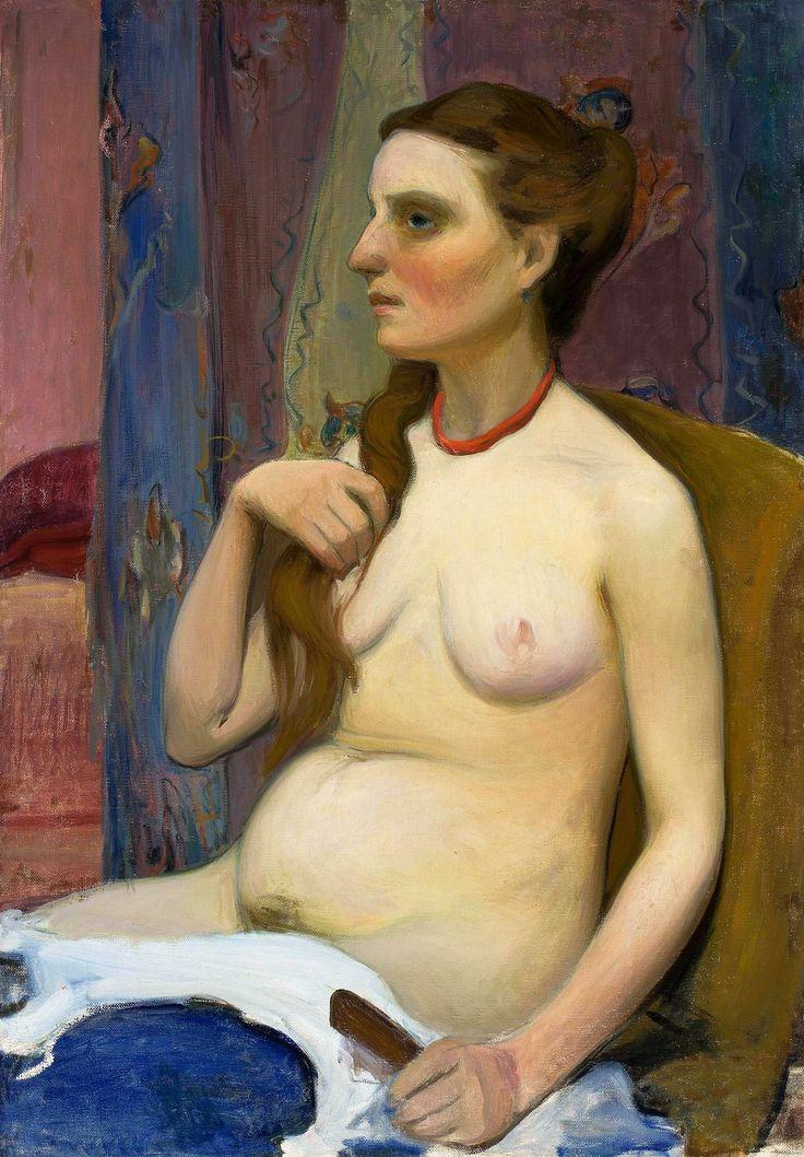 Nude woman combing her hair by Władysław Ślewiński, ca. 1909 (PD-art/90), Muzeum Narodowe w Warszawie (MNW)