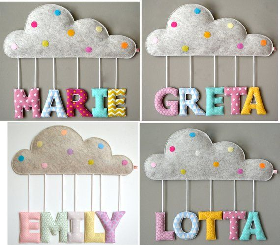 Baptism or birth gift: name decoration / door plate with little cloud and fabric letters