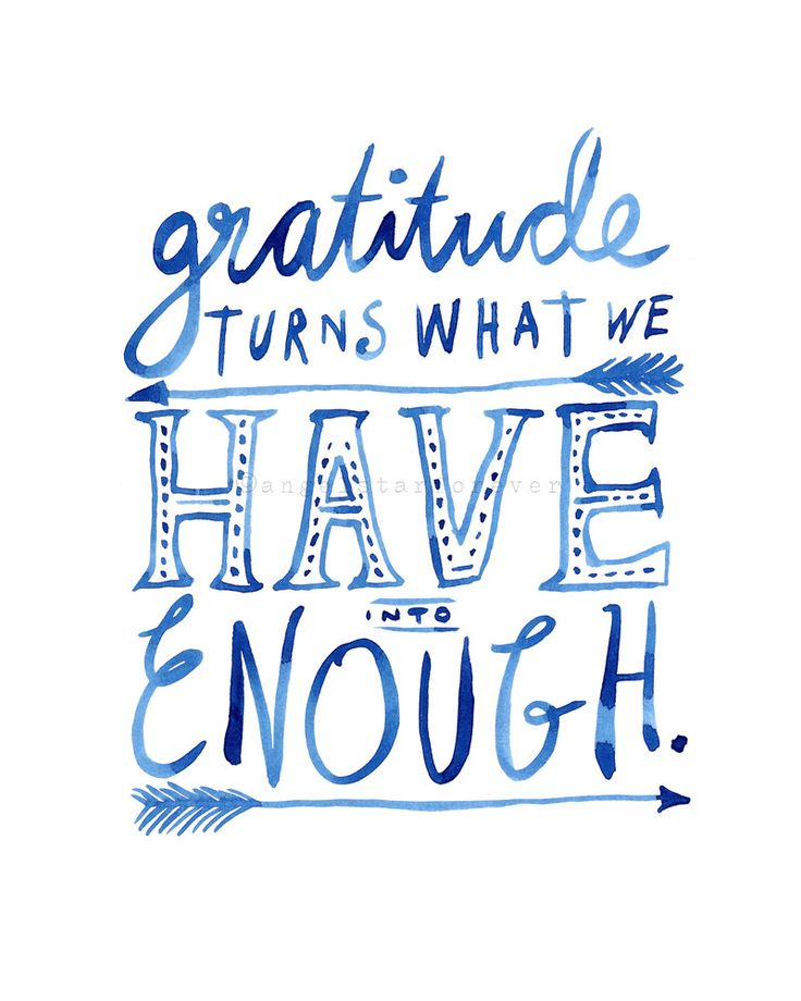 Gratitude Turns What We Have Into Enough (in Ocean Blue ...