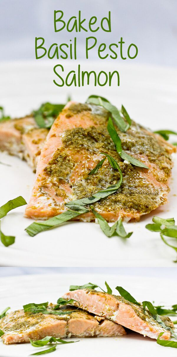 This easy Baked Basil Pesto Salmon delicious, ready in minutes, and is perfect for weeknight dinners. #seafood #salmon #bakedsalmon #pescetarian