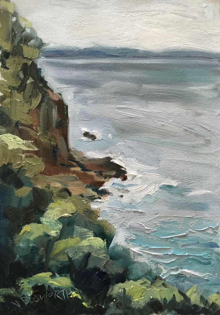 Vicki Bosworth: Blackmans Bay IX Oil on canvas 29.7 x 21cm
