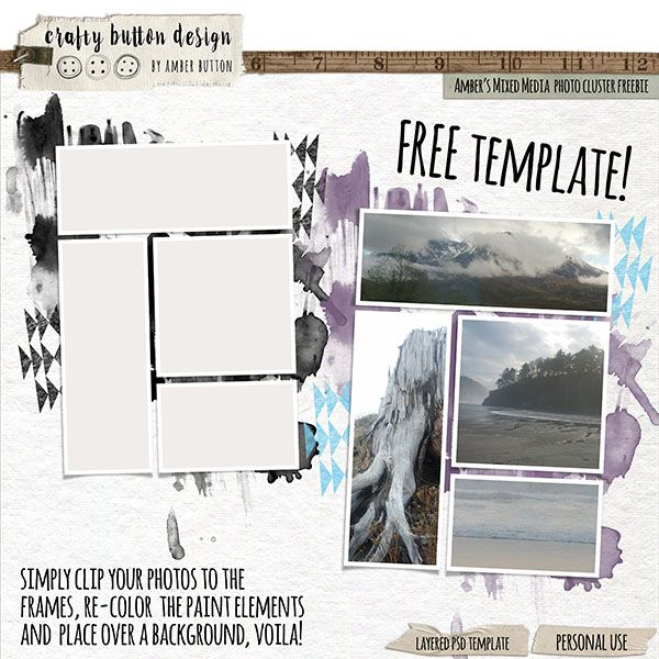 Ambers Mixed Media Photo Cluster Template FREEBIE