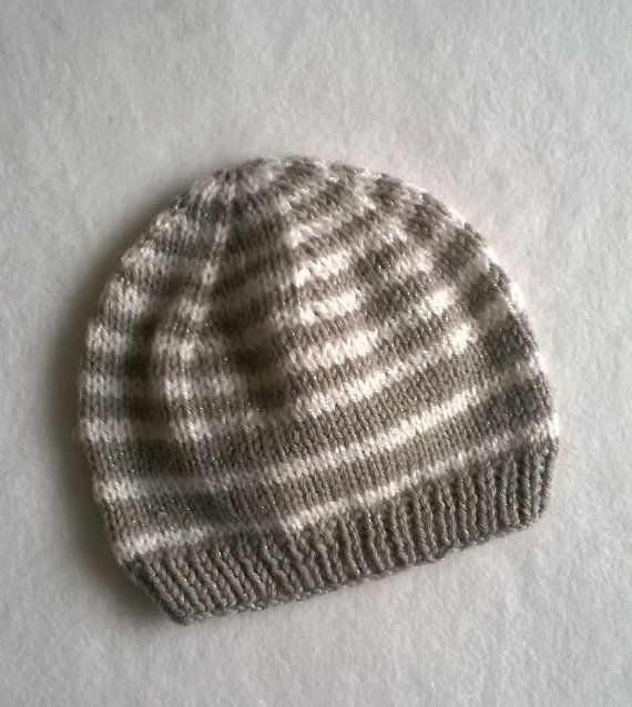 Cute Handmade Light Brown and White Stripy Beanie by Biskettblue
