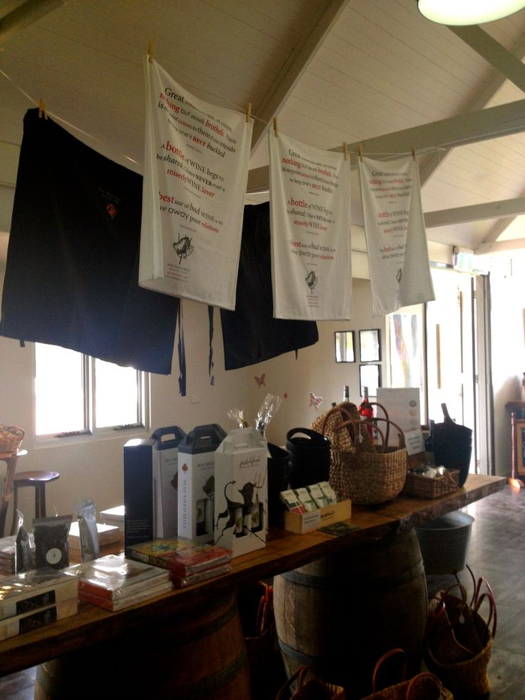 """Not only for fundraising... Expressions Australia cater for merchandising and branding ideas too! Like these snazzy tea towels and aprons at Hay Shed Hill Wines in WA! """"The #teatowels by far, are our #bestselling #merchandise !"""" What a great #retail item and brilliant #corporategift .! Click the link below for your FREE info pack today!"""