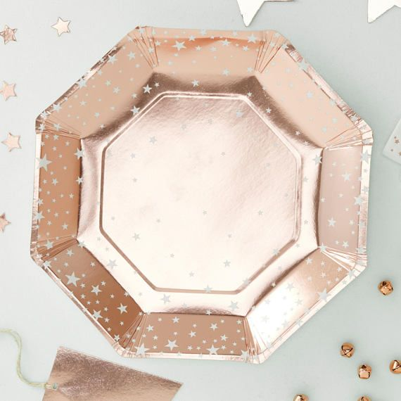 These Gorgeous Rose Gold Foiled Star Paper Plates Are Perfect For Any Party Or Celebration Each Plate Has A Chic Rose Gold Foiled Star Desig Rose Gold Christmas