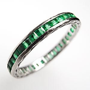 Vintage Natural Emerald Eternity Wedding Band Ring Solid 18K White Gold
