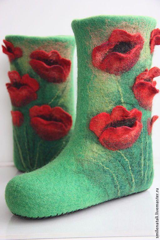 """Купить Валенки """"Маковое поле"""" - зимняя обувь, авторская работа, оригинальный подарок, домашние тапочки"""