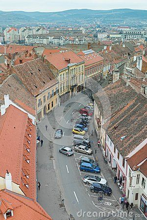 Aerial view of Sibiu in Transylvania, Romania and a busy street