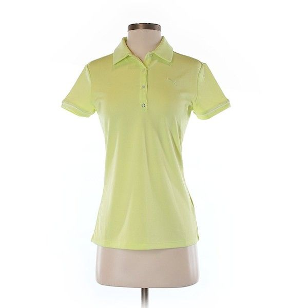 Puma Short Sleeve Polo ($12) ❤ liked on Polyvore featuring tops, yellow, short sleeve tops, yellow top, puma top, polo tops and beige top