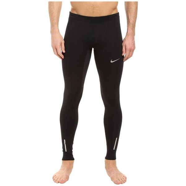 Nike Power Tech Running Tight (Black/Reflective Silver) Men's Workout ($80) ❤ liked on Polyvore featuring men's fashion, men's clothing, men's activewear, men's activewear pants, mens activewear pants and mens activewear