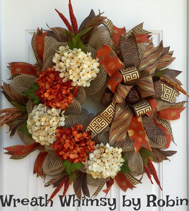 Fall Burlap Mesh Orange And Cream Hydrangea Wreath Front