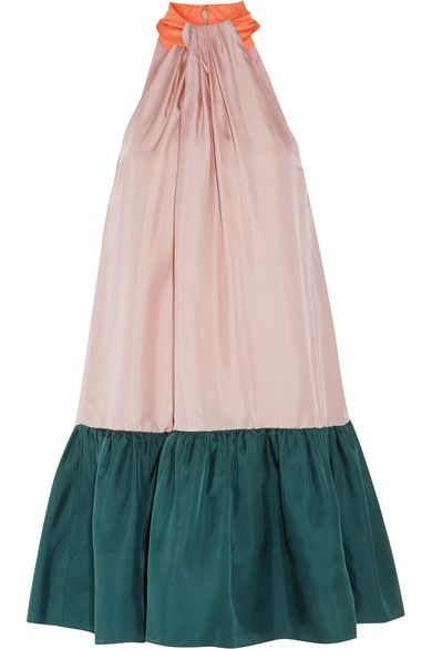 Roksanda - Elva Color-block Silk-twill Halterneck Dress - Blush - UK8