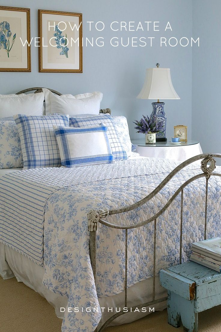 French blue cottage guest room decor ideas | Guest room essentials with DIY convenience basket | Cozy country French cottage bedroom | Romantic vintage decor ideas for a simple farmhouse guest room | designthusiasm.com