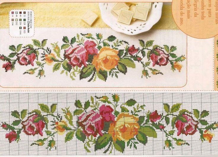 شغل ابره NEEDLE CRAFTS: باترون وردات ايتامين - cross stitch flowers patterns