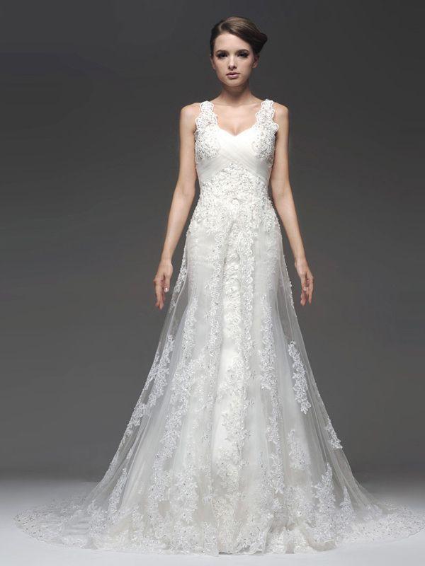 Sheath/Column Straps Chapel Train White Tulle Wedding Dress WD864