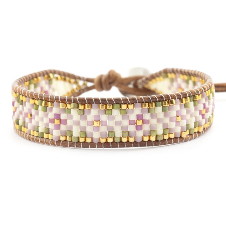 "Pink Mix Beaded Single Wrap Bracelet on Natural Brown Leather - Chan Luu. This Chan Luu cuff bracelet features a tribal inspired floral pattern of ""Pink Mix"" colored seed beads delicately hand woven onto natural brown colored leather."