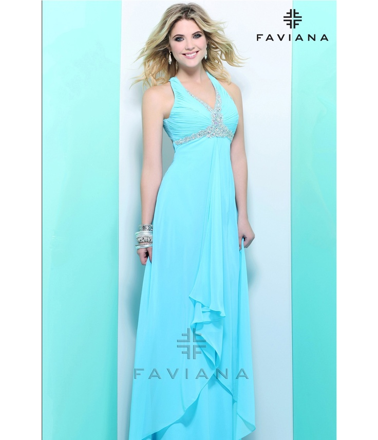 $358 Going to make this beautiful Tiffany Blue gown!...jw  Faviana 2013 Prom - Tiffany Blue High-Low Chiffon Prom Dress - Unique Vintage - Prom dresses, retro dresses, retro swimsuits.