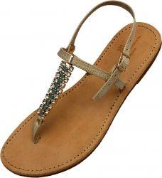 Christina Fragista sandals embellished with three strands of Swarovski crystals.