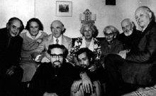 Andrei Sakharov with a group of Soviet dissidents, Sakharov is the first from right, the first from the left is Naum Meiman from Moscow Helsinki Group